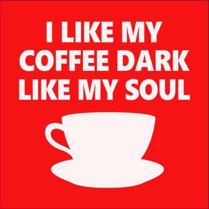 dark coffee red square