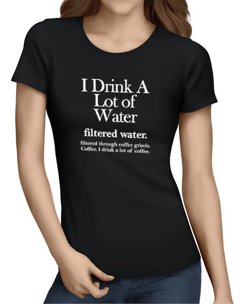 filtered water coffee ladies tshirt black