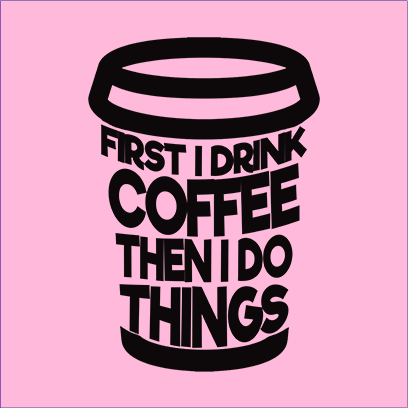 first coffee pink square