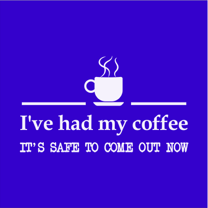 had coffee blue square