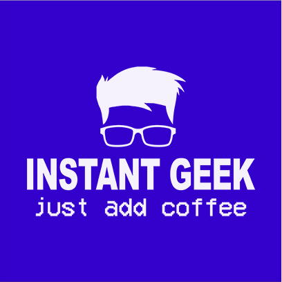 instant geek coffee blue square