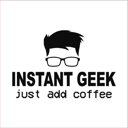 instant geek coffee white square