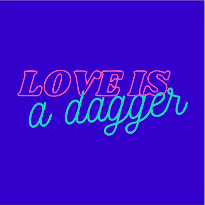 love is dagger blue square