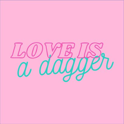love is dagger pink square