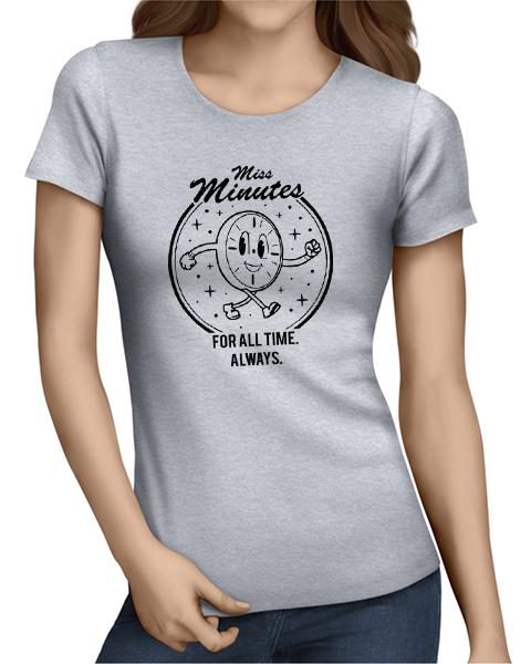 miss minutes ladies tshirt grey