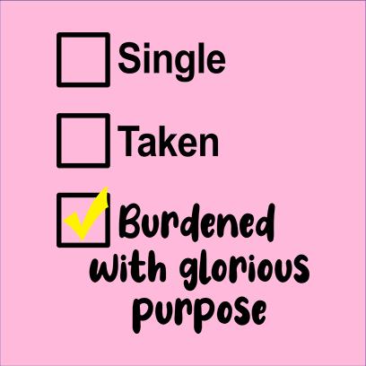 single taken burdened pink square